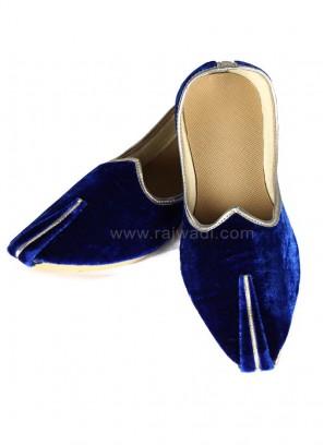 Royal Blue Velvet Mojari