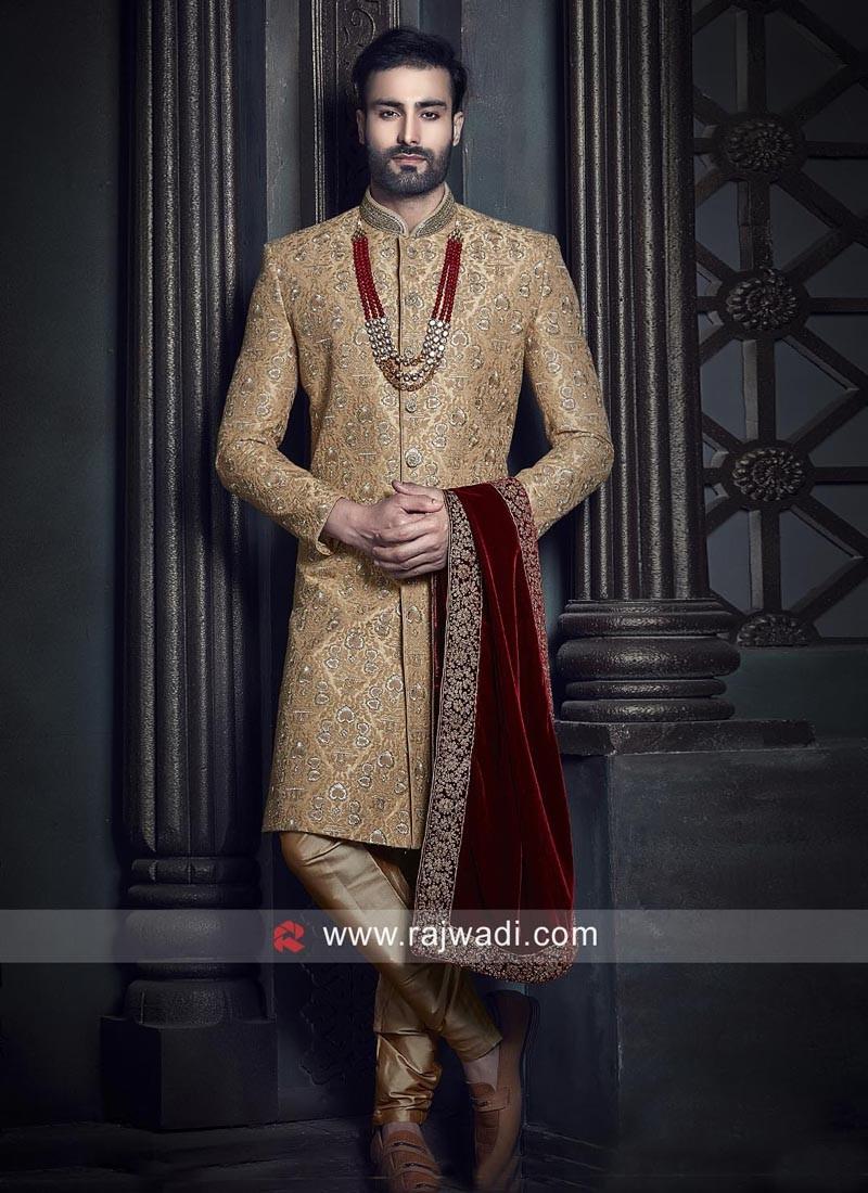 Royal Dark Goldenrod Zari Embellished Indo Western