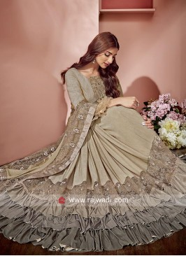 Royal Look Beige Ruffle Saree for Parties