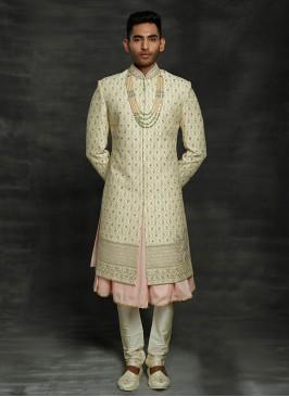 Royal Look Anarkali Style Sherwani For Groom
