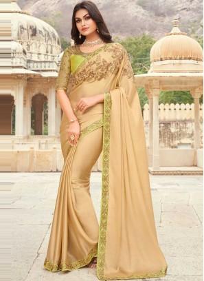 Royal Silk Beige Classic Designer Saree