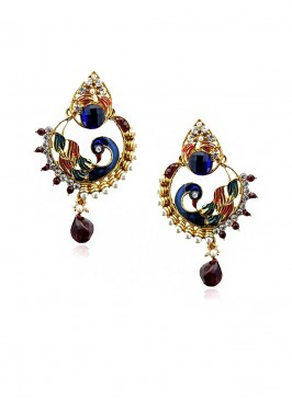 Royal Wave Peacock Drop Earrings