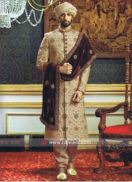 Royal Wedding Sherwani With Maroon Stole