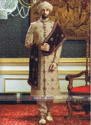Royal Wedding Sherwani With Maroon Stole