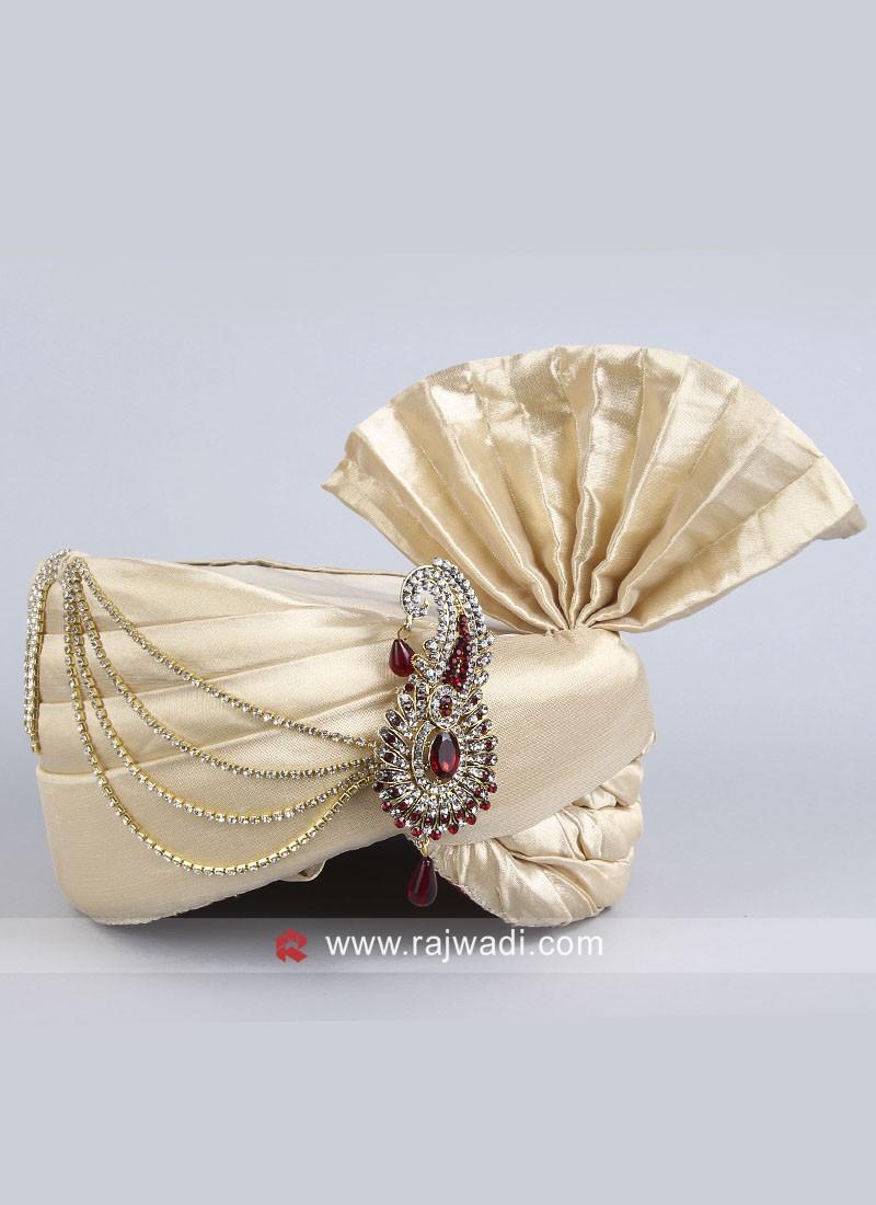 Cream Art Silk Fabric Safa