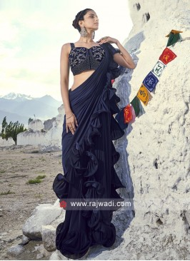Ruffle Border Work Saree for Party