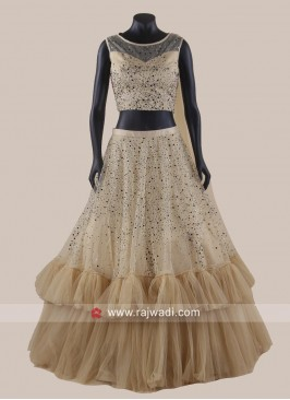 Ruffle Lehenga Set with Attached Dupatta