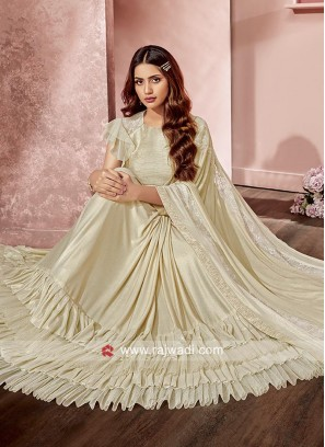 Ruffle Saree in Cream Colour