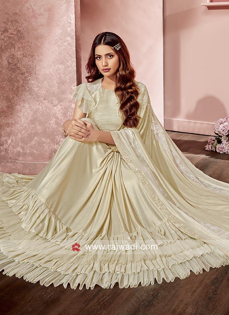 Ruffle Saree in Cream Colour