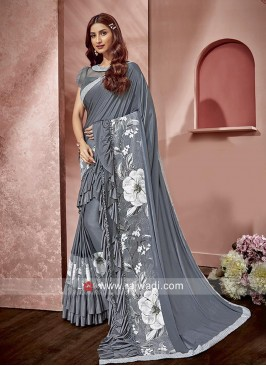 Ruffle Saree in Light Slate Grey for Party