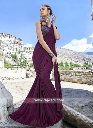 Ruffle Saree in Magenta Colour