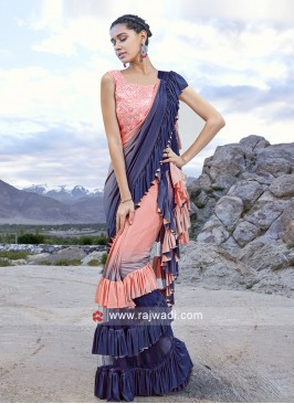 Ruffle Saree in Peach and blue for Party