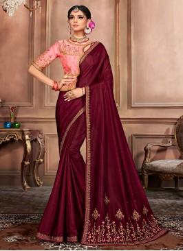 Ruritanian Silk Wine Embroidered Designer Traditional Saree
