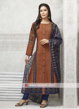 Rust and blue color salwar suit