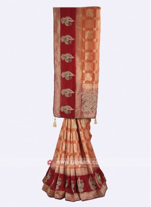 Rust and maroon color banarasi silk saree
