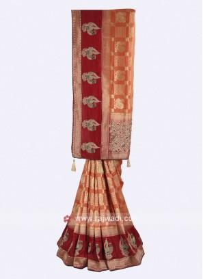 Rust and maroon color banarasi silk saree