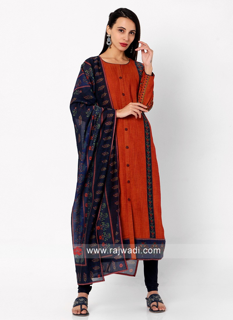 Rust And Navy Blue Color Churidar Suit