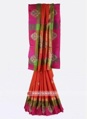 Rust and rani color pure silk saree