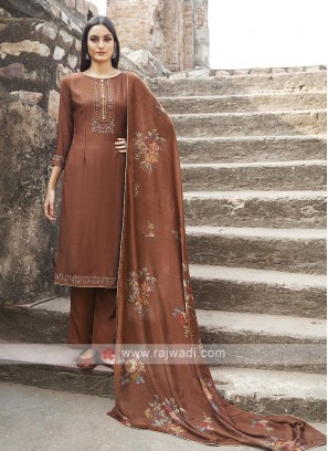 Rust Color Embroidery Suit