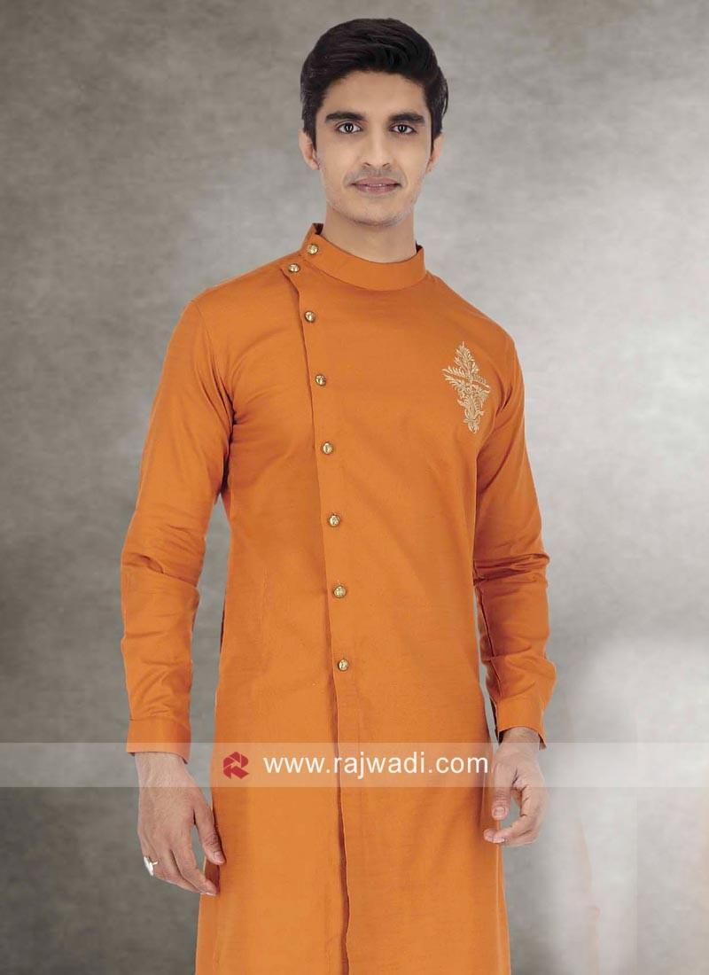 Orange Color Cotton Kurta