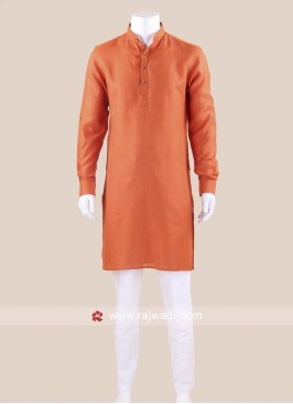 Rust Color Kurta Set For Wedding