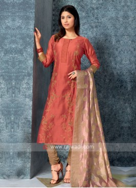 Rust Color Kurta with Churidar & Dupatta