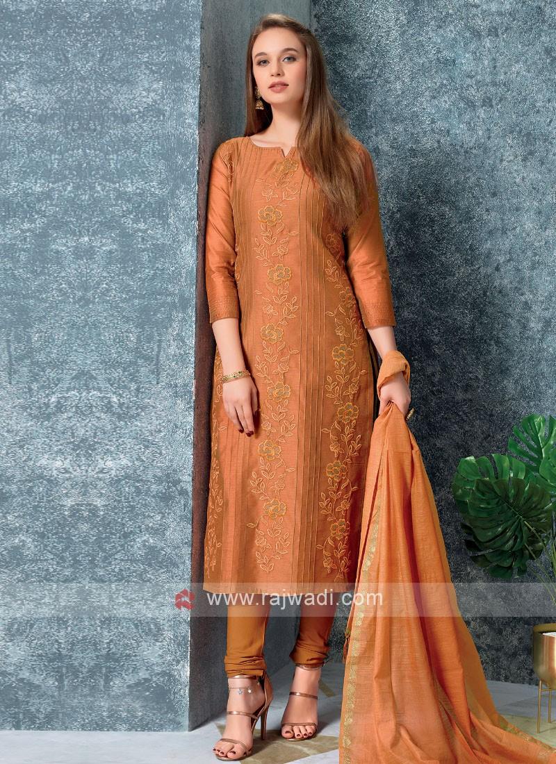 Rust Color Kurta with Churidar & Dupatta