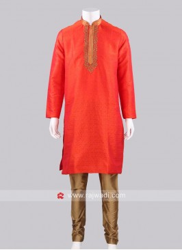 Rust Color Kurta With Golden Churidar