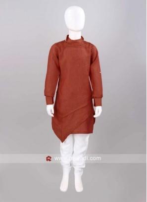 Rust Color Layered Pathani Set