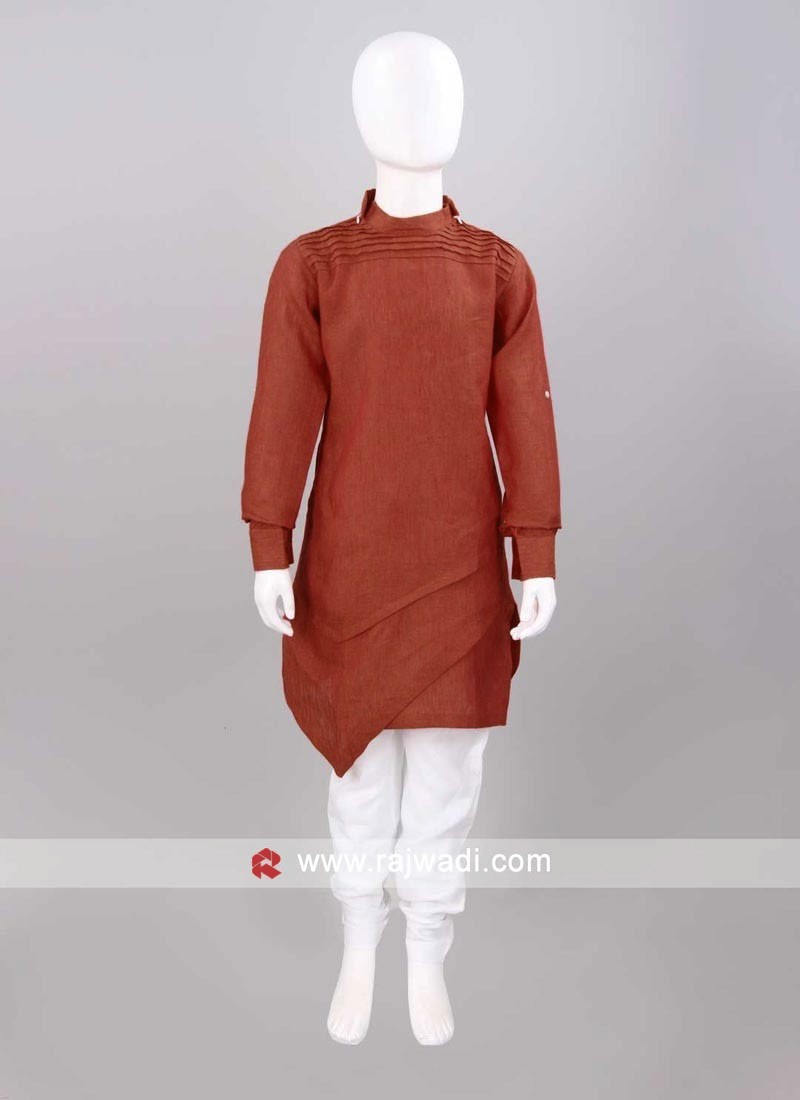 Rust Color Layered Pathani Set