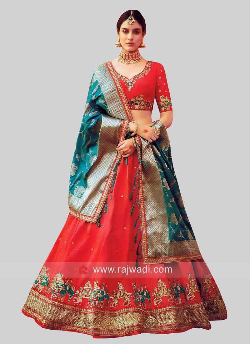 Rust Color Lehenga Choli with Dupatta