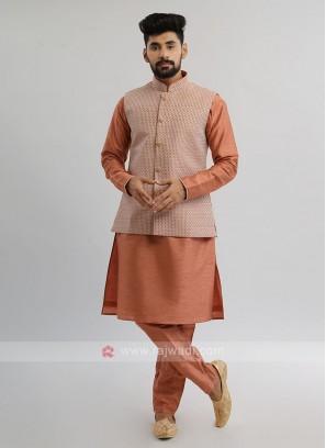 Rust Color Nehru Jacket Set