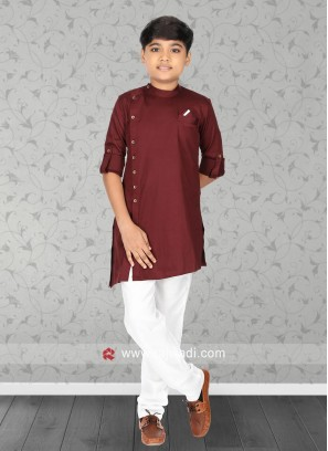 Maroon Color Pathani Set For Kids
