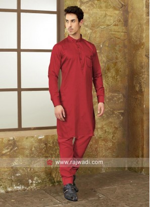 Rust Color Pathani With Matching Bottom
