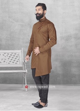 Brown Color Pathani With Black Bottom