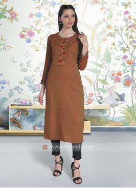 Rust Color Soft Cotton Kurti