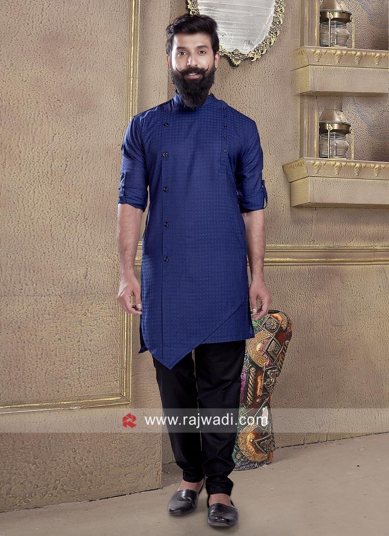 Dark Blue Color Pathani Suit