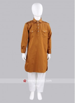 Rust Cotton Silk Pathani For Kids