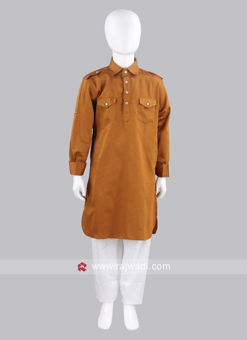 Rust Cotton Silk Pathani For Kids
