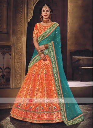 Rust Lehenga Choli with Heavy Dupatta
