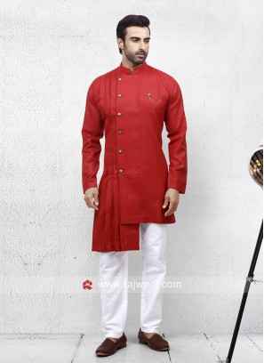 Rust Linen Pathani Suit