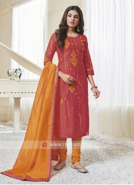 Rust & Orange Color Churidar Suit