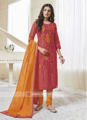 Shagufta Rust & Orange Color Churidar Salwar Suit