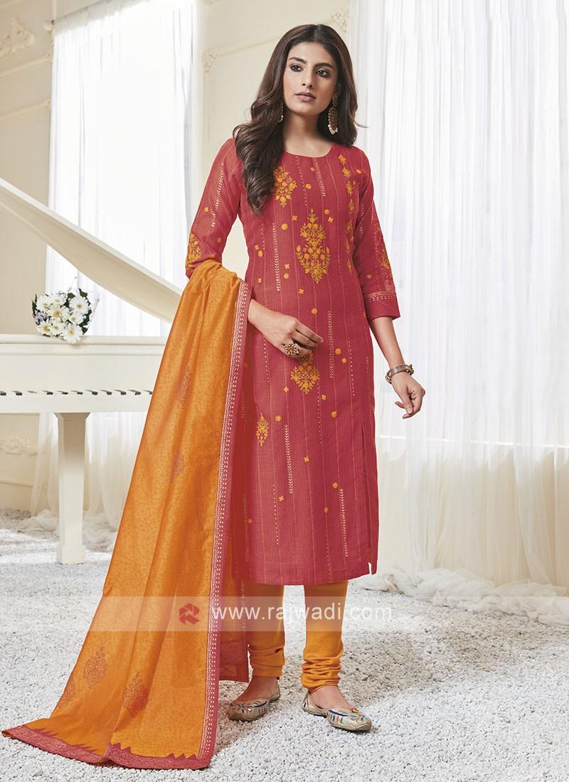 Shagufta Rust & Orange Color Churidar Salwar Suit