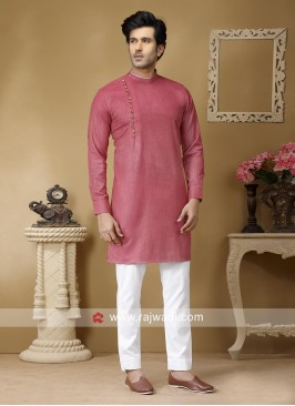 Salmon Linen Kurta Set