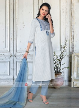 Salwar Suit In White & Sky Blue Color