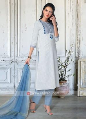 Salwar Suit In White & Sky Blue Color