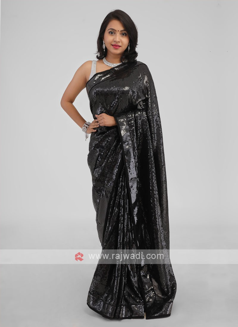 Saree Designs For Wedding Party In Black Color