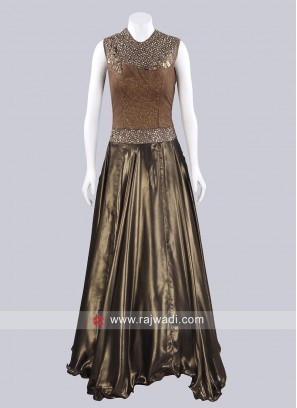 Satin A Line Readymade Gown
