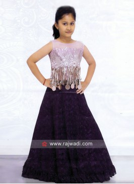 Satin and Net Choli Suit for Girls